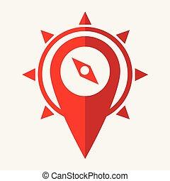 flat design style location pin icon vector