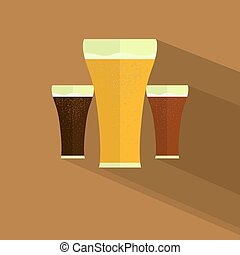 Flat design style modern beer icon vector illustration. Isolated on stylish color background.