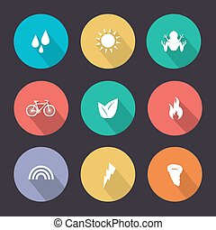 Flat design style nature icons.