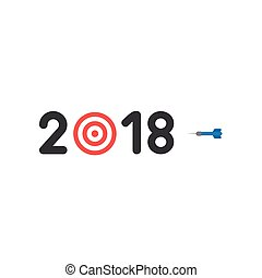 Flat design style vector concept of 2018 with bulls eye and dart
