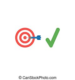 Flat design style vector concept of bulls eye with dart in the center and check mark