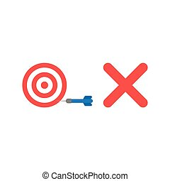 Flat design style vector concept of bulls eye with dart in the side and x mark