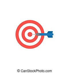 Flat design style vector concept of bullseye with dart icon in the center on white