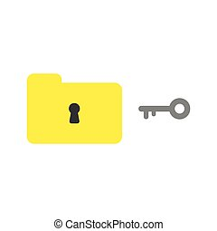 Flat design style vector concept of closed folder and keyhole with key