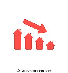 Flat design style vector concept of house sales or value bar chart with arrow moving down