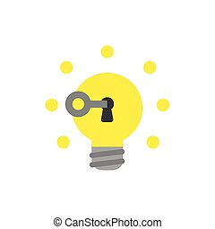 Flat design style vector concept of key unlock light bulb and glowing