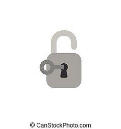 Flat design style vector concept of key unlock padlock