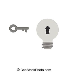 Flat design style vector concept of light bulb with keyhole and key