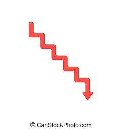 Flat design style vector concept of line stairs symbol icon with arrow pointing down on white