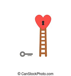 Flat design style vector concept of love key reach to keyhole in heart with ladder