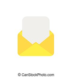 Flat design style vector concept of open envelope with blank paper