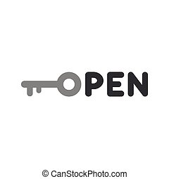 Flat design style vector concept of open text with key icon on white