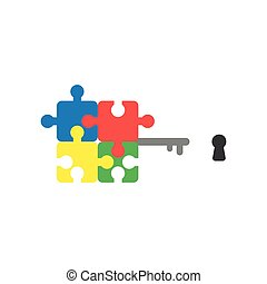 Flat design style vector concept of puzzle key and keyhole