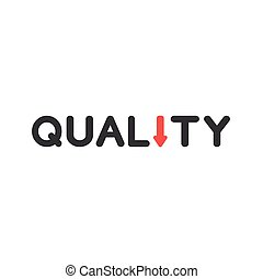 Flat design style vector concept of quality with arrow moving down