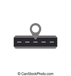 Flat design style vector illustration concept of black road and grey pointer symbol icon on white background.