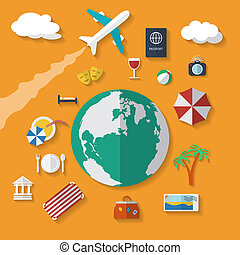 Flat design style vector icons set of vacation