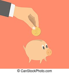 Flat design style vector illustration. Businessman's hand throwing in a pig. Financial concept. Isolated on red background