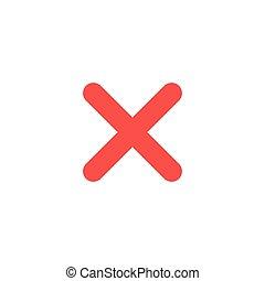 Flat design style vector x mark icon on white - Flat design...