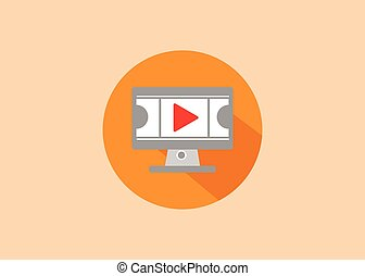 flat design style video vector icon