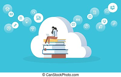 Flat design style web banner for education cloud, distance...