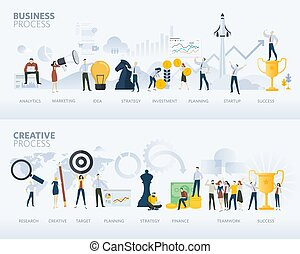 Flat design style web banners of business process and creative process