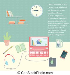 Flat design stylish vector illustration organization of modern business workspace in the office.