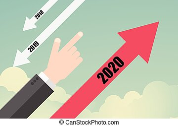 Flat design Success vector concept. Business trend arrow to year 2020
