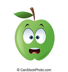 surprised apple cartoon icon