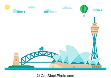Flat design sydney landmarks cityscape illustration vector