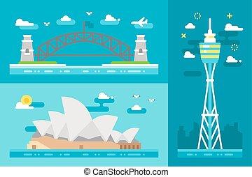 Flat design Sydney landmarks