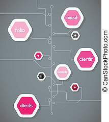 Flat design template with hexagon shape bubbles.