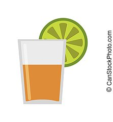 tequila shot with lime icon - flat design tequila shot with...