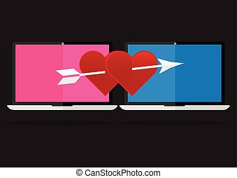 Flat design the red heart with arrow on laptop notebook love online dating. Valentines day I love you concept.