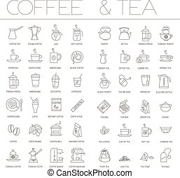 coffee and tea icon set.