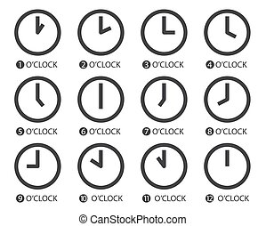 Flat Design Time Icons