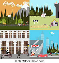 Flat Design Time line People Life Ancient Medieval Modern World History Vector Illustration