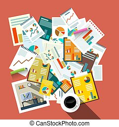 Flat Design Top View Paperwork Vector Illustration. Business Concept. Tax Forms, Success Graphs with Coffee.