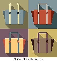 Flat Design Tote Bags. - Flat Design Tote Bags Vector...