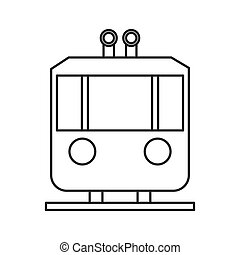 tramway frontview icon - flat design tramway frontview icon...