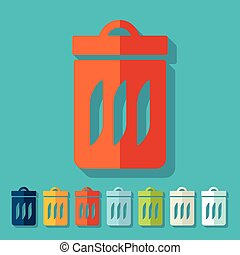 Flat design: trash can