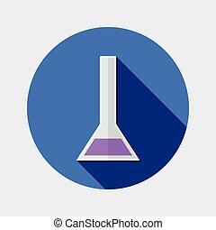 Flat design tube chemistry icon