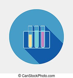 Flat design tubes chemistry icon