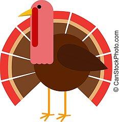 flat design turkey bird vector illustration standing isolated on white background