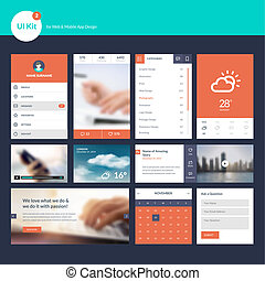 Flat design UI and UX elements
