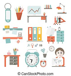 Flat Design UI Office Supply Vector Flat Design Illustration Isolated on White Background