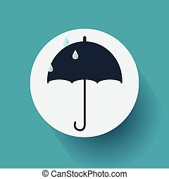 Flat Design Umbrella Icon on Blue Background. Vector, illustration eps10