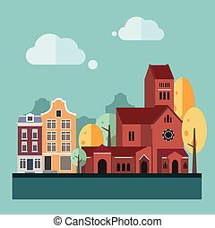 Flat Design Urban Landscape Illustration