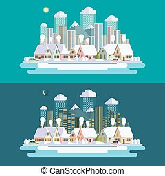Flat design urban winter landscape illustration