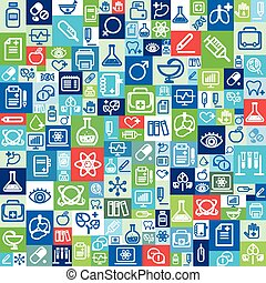 Flat design vector background, medical icons