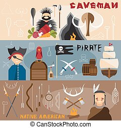 flat design vector banners with caveman,pirate and native american